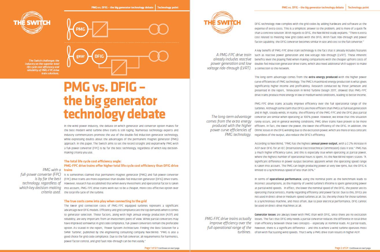 Technology point: PMG vs DFIG